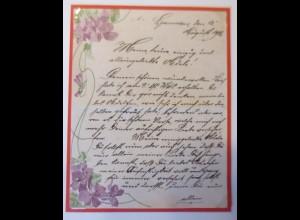 Zierbriefbogen mit Jugendstildekoration Blumen 1906 ♥ (71155)