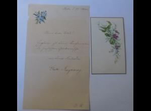 Briefpapier, Zierbriefbogen u. Zierbriefkarte Chromolithographie 1910 ♥ (71917)