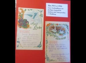 2. Briefpapier, Zierbriefbogen Jugendstil Sinnsprüche 1.Weltkrieg 1915 ♥ (54916)