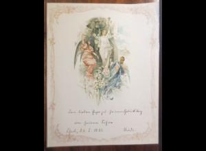 Briefpapier, Zierbriefbogen Jugendstil, Engel, Litho. Jahr 1911 ♥ (E25)