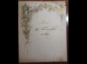 Briefpapier, Zierbriefbogen mit Goldruck 1861 ♥ (E40)