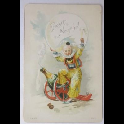 Glückwunschkärtchen, Neujahr, Sekt-Kanone, Harlekin, Jahr 1892 ♥ (36457)