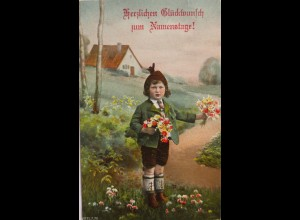 Namenstag, Kinder, Mode, Blumen, Trachten, 1909 ♥ (623)