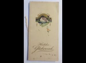 Glückwunschkärtchen, Klappkarte, Biedermeier, Landhaus, Blumen, 1900 ♥ (21545)