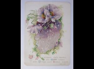 Glückwunschkärtchen, Blumen, Bibelspruch Röm. 8,28, 1900 ♥ (1838)