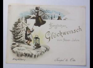 Glückwunschkärtchen, Neujahr, Zwerge, Glocken Laterne, Magdeburg, 1900 ♥ (70489)
