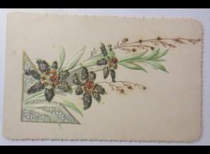Glückwunschkärtchen, Klappkarte Jugendstil, Edelweiß mit Glitzer 1890 ♥ (27216)