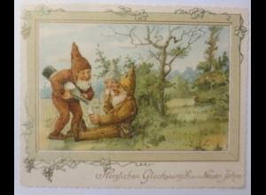 Glückwunschkärtchen Neujahr, Zwerge, Sekt, Jugendstil, Litho. 1900 ♥ (9189)
