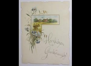 Glückwunschkärtchen, Neujahr, Landschaft, Landhaus, Blumen, Jahr 1891 ♥ (30508)