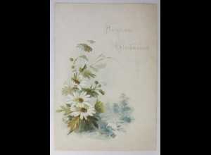 Glückwunschkärtchen, Neujahr, Blumen, Jahr 1889 ♥ (66865)