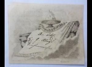 Glückwunschkärtchen, Namenstag, Original Kupferstich Jahr 1840 ♥ (67588)