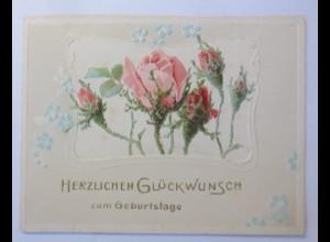 Glückwunschkärtchen, Geburtstag Blumen, Rosen, Prägekarte, Jahr 1900 ♥ (65214)
