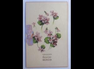 Glückwunschkärtchen, Klappkarte, Veilchen, Blumen, Prägekarte, 1900 ♥ (61690)