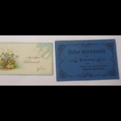 2.Glückwunschkärtchen, Geburtstag, Prägekarte, 1900 ♥ (28982)