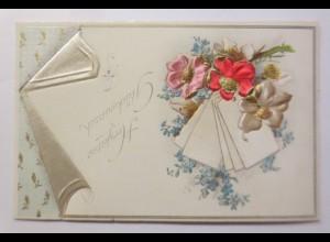 Glückwunschkärtchen, Blumen, Vergissmeinnicht, Prägekarte, 1900 ♥ (65685)