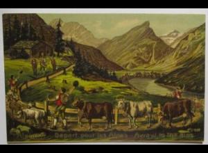 Berge Alpen Almabtrieb, Prägedruck ca. 1900 Verlag Guggenheim Zürich (34235)