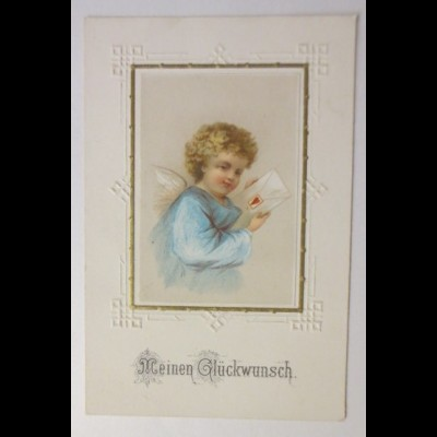 Glückwunschkärtchen, Engel, Oblate, 1900 ♥ (62176)