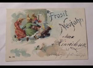 Neujahr, Zwerge, Kanone, 1900 ♥ (38059)