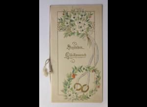 Glückwunschkärtchen, Klappkarte zur Verlobung, Jugendstil, 1921 ♥ (413)