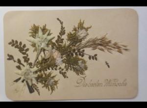 Glückwunschkärtchen mit aufgeklebten getrockneten Gräsern Blumen 1888 ♥ (42760)