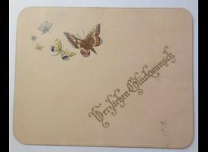 Glückwunschkärtchen aus Karton mit Prägedruckapplikationen von 1891 ♥ (42719)
