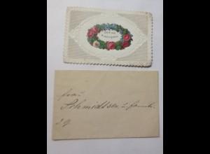 Glückwunschkärtchen mit gestanzter Spitze Blumenapplikation Oblate 1889 ♥(35992)