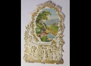 Glückwunschkärtchen,Goldprägedruck in Stanzspitze mit Chromolitho. 1872 ♥ (7879)