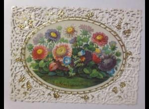 Glückwunschkärtchen in Prägedruck und Stanztechnik, 1871 ♥ (38936)