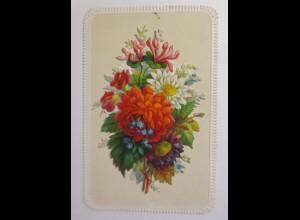 Glückwunschkärtchen Prägedruckkarte mit aufkappbarer Blumenoblate 1870 ♥ (59308)