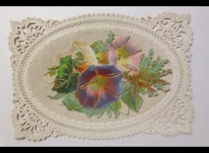 Glückwunschkärtchen, Stanztechnik mit abklappbarer Blumenoblate, 1871 ♥ (29465)
