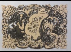 Glückwunschkärtchen in Prägedruck und Stanztechnik Jahr 1867 ♥ (27136)