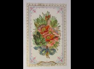 Glückwunschkärtchen Goldrandprägedruck mit abklappbarer Oblate 1870 ♥ (28865)