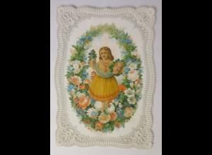 Glückwunschkärtchen Prägedruck mit abklappbarer Oblate 1870 ♥ (14422)