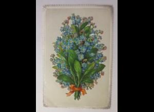 Glückwunschkärtchen am Rand Prägedruck abklappbare Oblate 1870 ♥ (15299)