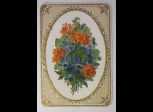Glückwunschkärtchen, Goldprägedruck abklappbare Oblate 1870 ♥ (46915)