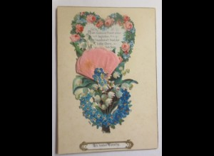 Glückwunschkärtchen auf Pappe bedruckt mit Zieh-Oblate 1895 ♥ (48044)