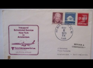 Luftpost Trans International Airlines New York - Amsterdam 1979 (69957)
