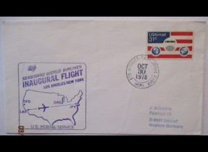 Luftpost USA Seaboard World Airlines Los Angeles New York 1978 (70000)