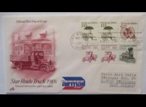 Auto, Star Route Trucks, FDC USA 1986 (53178)