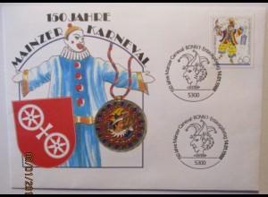 Karneval Mainz, Numisbrief 1988 (35576)