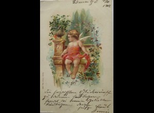 Engel, Amor, Schmetterling, 1901, Prägekarte ♥
