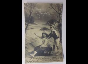 Neujahr, Kinder, Schlitten, Disteln, 1912 ♥ (41779)