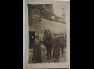 Mann und Frau, Pferde, vermutlich Frankreich Belgien Fotokarte ca. 1910 (6006)