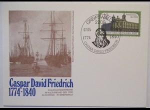 Kunst Malerei, Caspar David Friedrich, Hafen von Greifswald, DDR GA (41052)