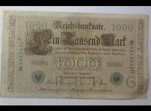 Geldschein, Reichsbanknote, Ein Tausend Mark 1910, Nr. 46 a) ♥ (39G)