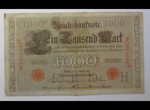 Geldschein, Reichsbanknote, Ein Tausend Mark 1910, Nr. 45 d) ♥ (42G)