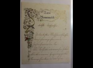 Zierbriefbogen, Briefpapier um 1855 mit farbigen Golddruckornament ♥ (E52)