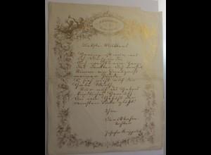 Zierbriefbogen, Briefbogen, Namenstag mit Golddruck-Litho Jahr 1845 ♥ (52E)