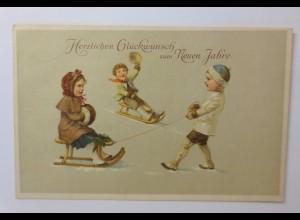 Neujahr, Kinder, Schlitten, Mode, Muff, 1914 ♥ (41785)