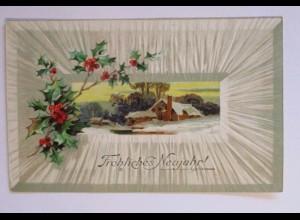 """""""Neujahr, Winterlandschaft, Disteln"""" 1911, Prägekarte, M&B ♥ (51101)"""